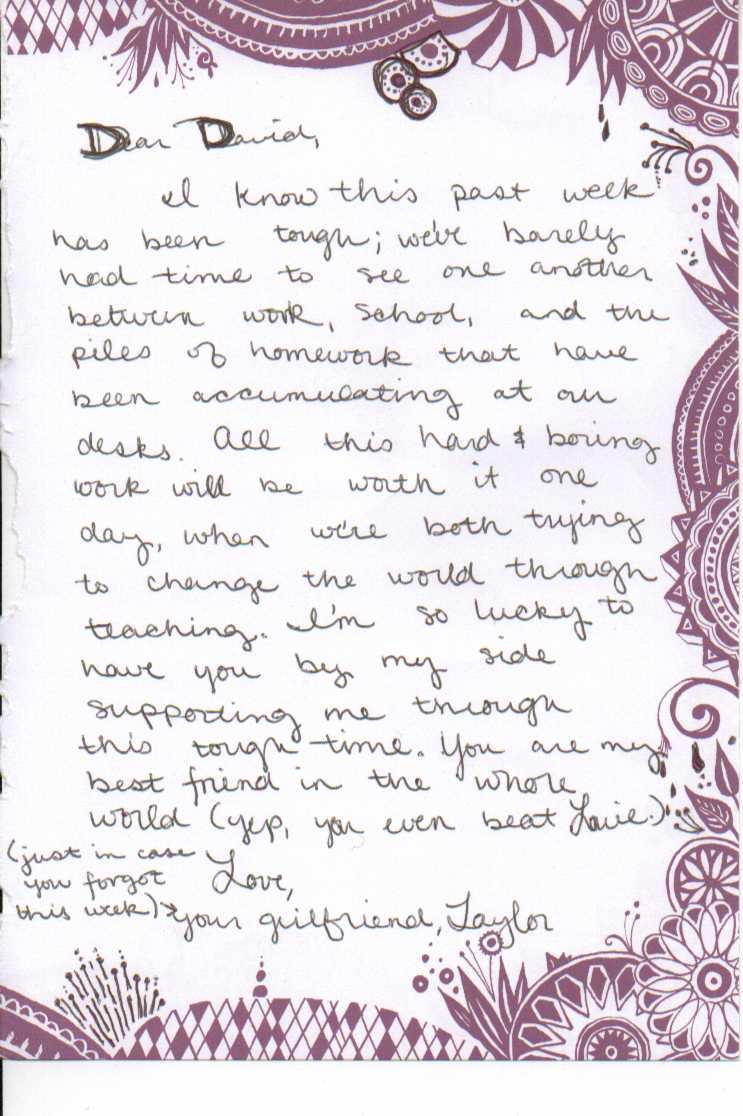 sunday love letter Wel e Home Taylor
